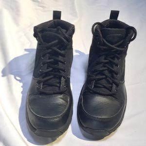 Nike ACG Manoa Youth Black Leather Hiking Boots